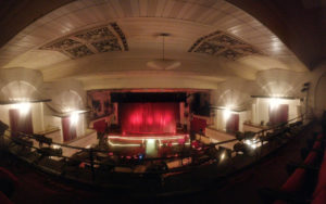 The Darress Theater stage, as seen from the balcony